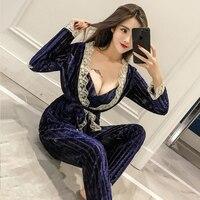 New Winter Women Velvet Striped Lace Cardigan Slim Camisolo Loose Pants Sexy Pajama Sets Ladies Sleeping 3 Piece Sets