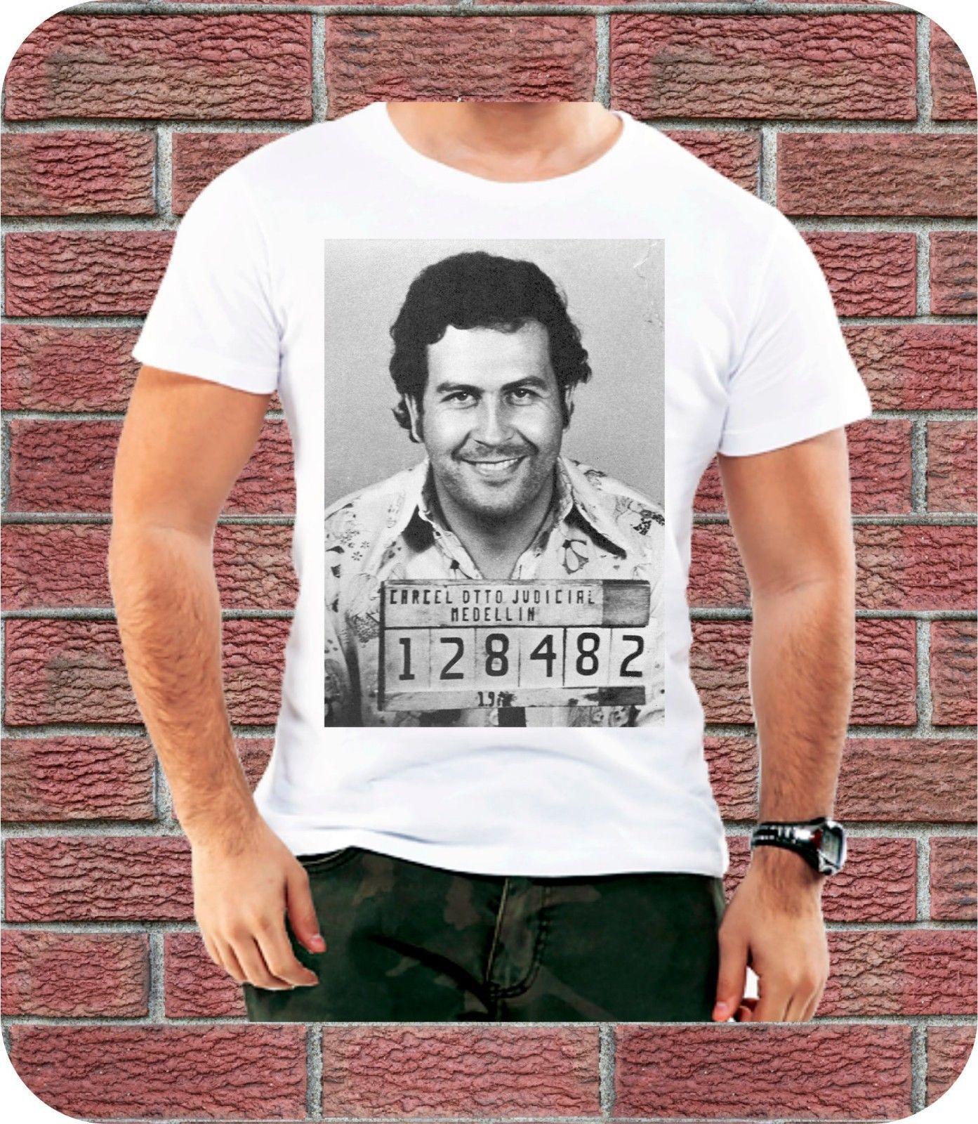100% Vero Pablo Escobar Criminale Foto Segnaletica Maglietta Degli Uomini Regalo Di Compleanno Gangster Regalo 3xl Tecnologie Sofisticate