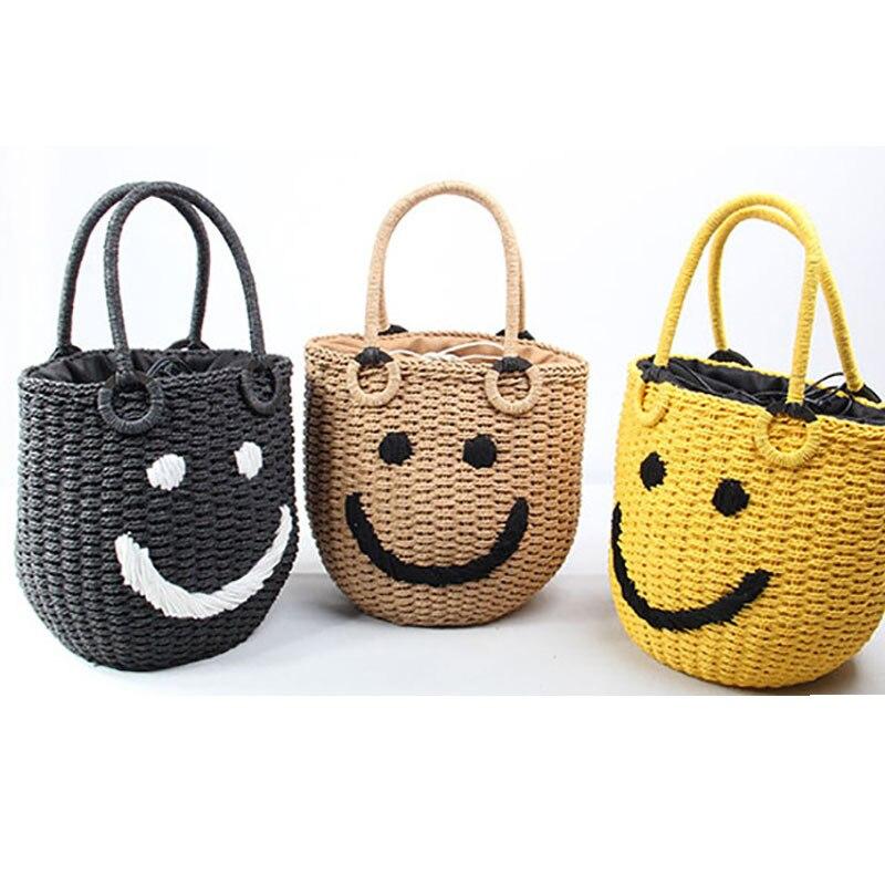 Sac de plage d'été nouveau Style visage souriant femmes seau sac mignon sac à main fourre-tout en paille