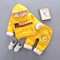 Vestidos Baby Girls Boys Clothes 2PCS Set Long Sleeve Yellow Little Bear Pattern T Shirts Pant