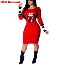 Red Sequin Dress Gril Long Sleeve Stripes Sequins Lip Knitted O-neck  Sweater Bodycon Bandage Midi Knee Length Black Sequin Dress e71cc1421c63