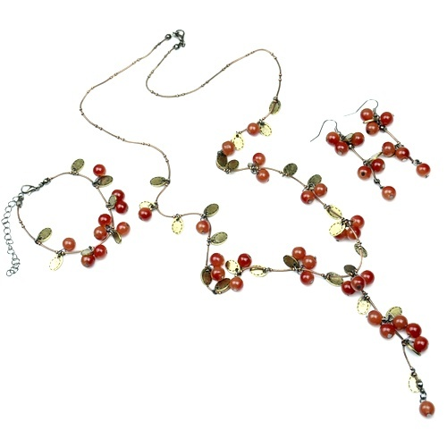 Red Bean Cherry Jewelry Set...