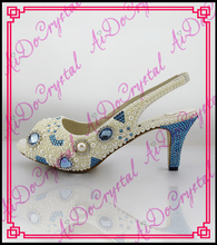 Aidocrystal 2016 Sommer damen weiße perle sling sandale schuhe frau 6 cm high heels offene spitze high heel sexy schuhe