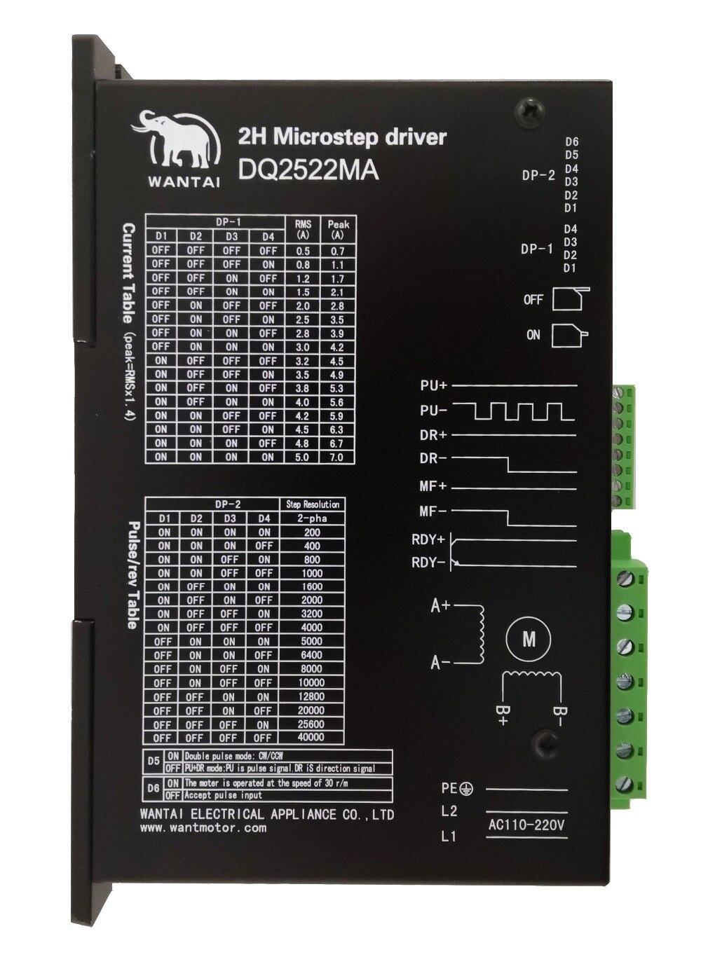1 PC Wantai moteur pas à pas pilote DQ2522MA 300 microétapes 5.0A 110-220 V correspondant Nema 34 42 moteur pas à pas outil industriel Laser
