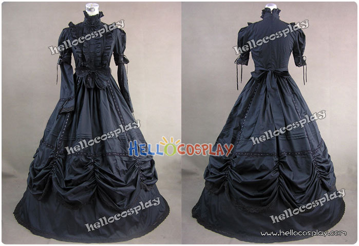 Japanese Anime Outfit Gothic Cotton Lolita Black Dress Ball Gown Prom H008