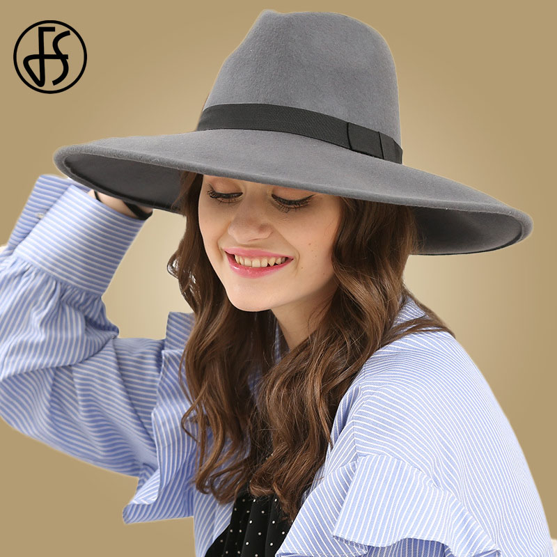 Image 3 - FS Elegant Big Black Hat Large Brim Fedoras Wool Felt Hat Women Bow Panama Cap Australian Ladies Trilby Hat Autumn Casual Mujere-in Women's Fedoras from Apparel Accessories