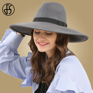 Image 3 - FS Elegant Big Black Hat Large Brim Fedoras Wool Felt Hat Women Bow Panama Cap Australian Ladies Trilby Hat Autumn Casual Chapeu