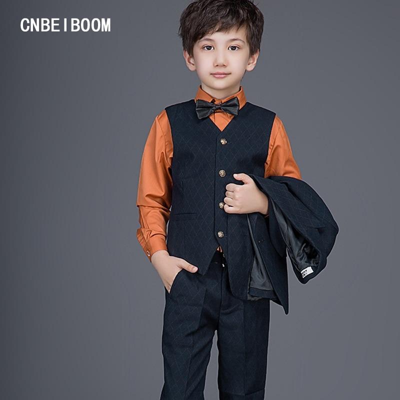 ФОТО 3 Piece Suits Children Gentleman Style (Jacket+Pants+Vest) Sets Fashion Kids 2-12 Y Suit Slim Blue Plaid Wedding Costume Clothes
