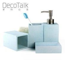 Набор аксессуаров для ванной комнаты в скандинавском стиле, набор из 4 предметов, набор для ванной комнаты из смолы, набор для украшения ванной комнаты