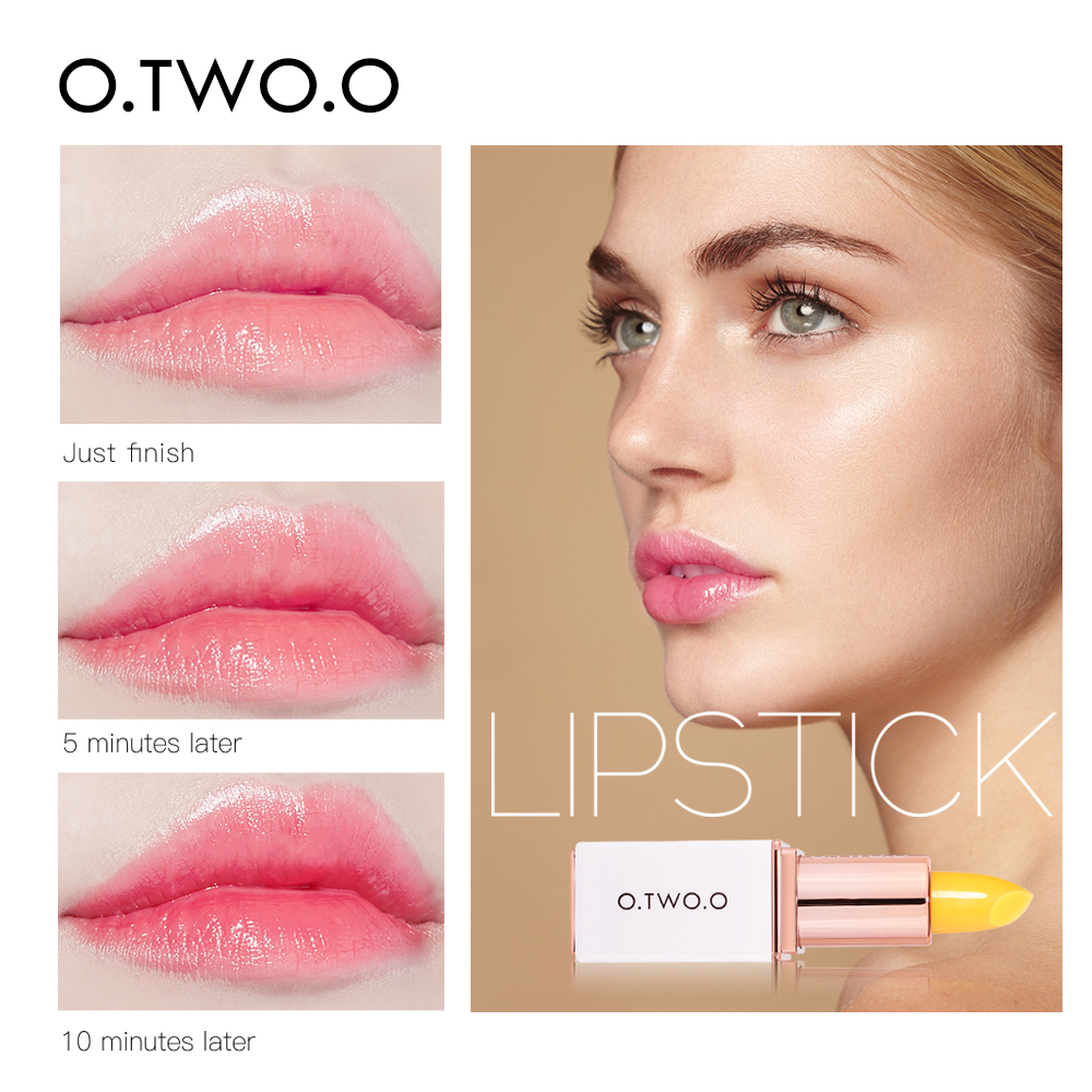 O.TWO.O Temperature Change Color Lip Balm Pink Hygienic Moisturizing Nutritious Jelly Lipstick Anti Aging Makeup Lip Care