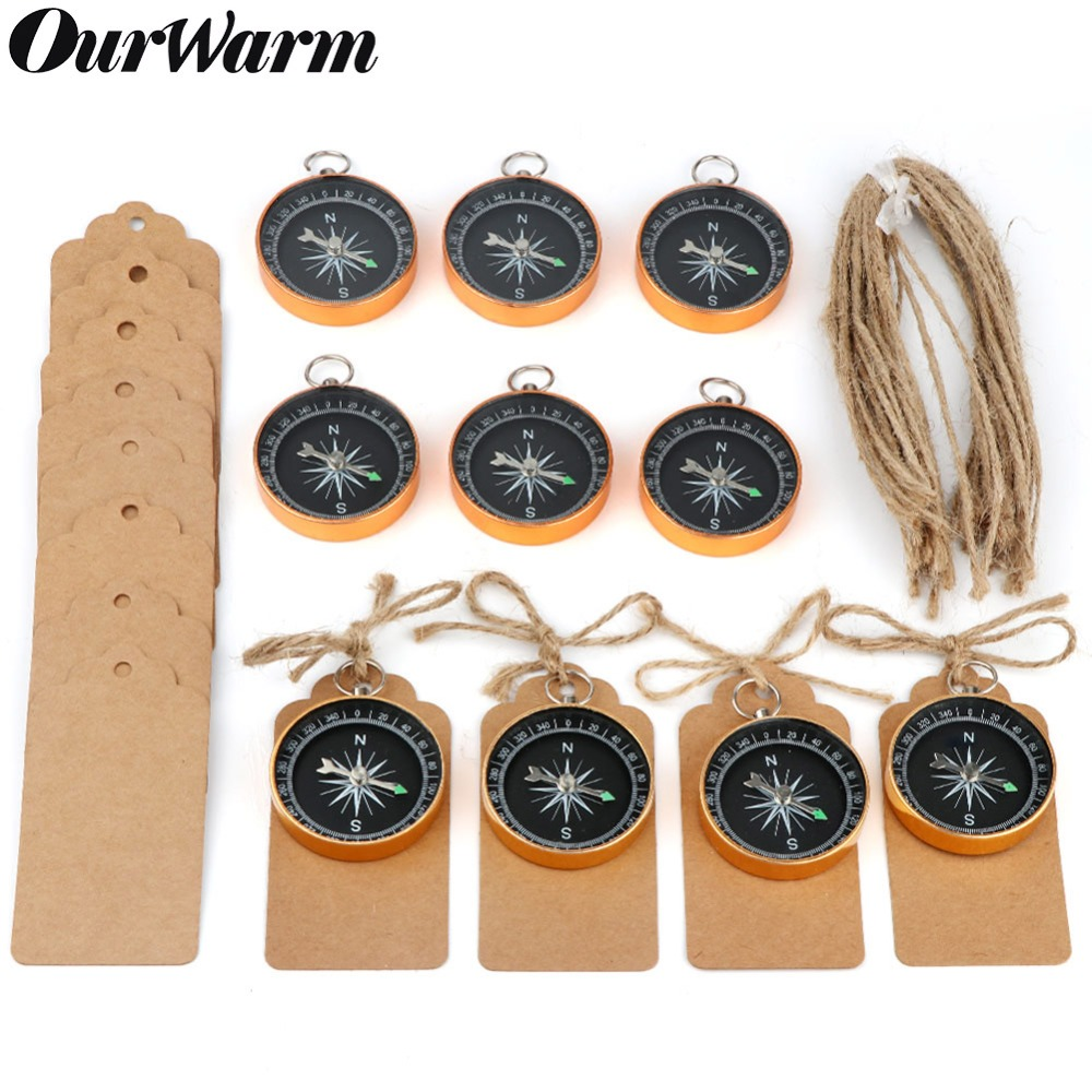 OurWarm 50Pcs Travel Themed Party Favors for Wedding Souvenirs Gold Compass with Tags Labels Birthday Wedding