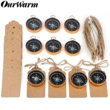 OurWarm 50Pcs Travel Themed Party Favors for Wedding Souvenirs Gold Compass with Tags Labels Birthday Wedding Gifts for Guests