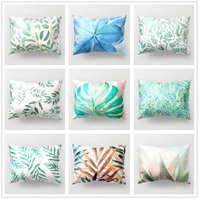 Plants Leaves Polyester Cushion Cover Tropical Fresh Decorative Pillowcase for Sofa Car Pillow Covers Home Bedroom Decor 30x50cm цены
