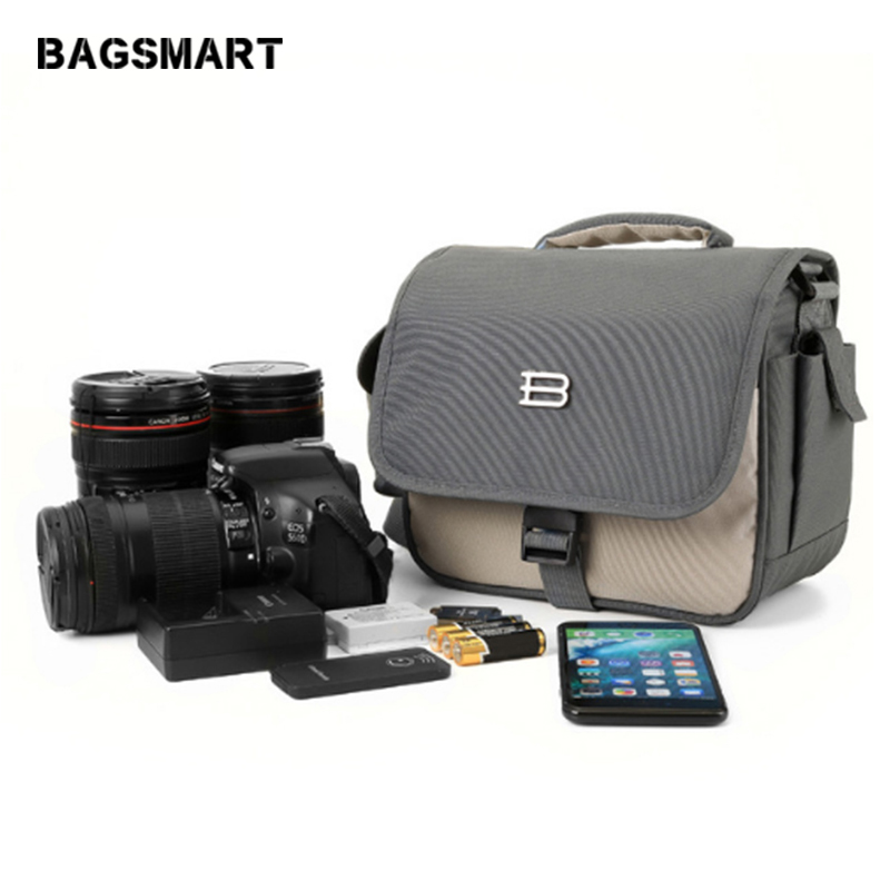 BAGSMART Nylon Brand Camera Bag Travel Crossbody Bag DSLR Camera Shoulder Bag Handbag For Canon Nikon Lens