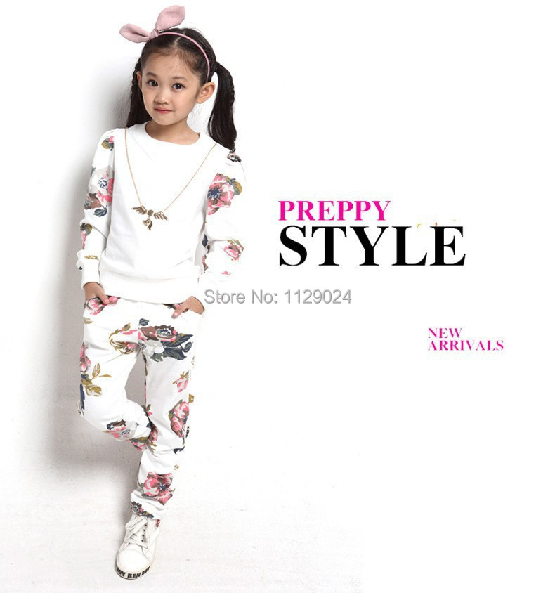 New 2017 Hot  Spring Autumn Girl Sets  Fashion Baby Girl Clothing Sets Children Flower Printed Suits Cotton Free Shipping