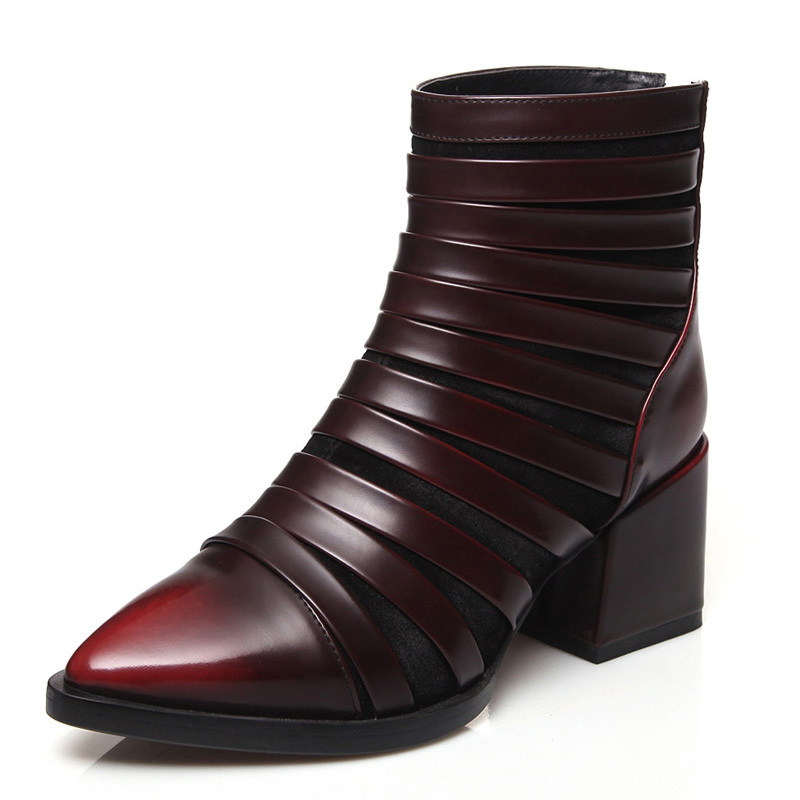 ФОТО Retro green hot new arrive Square heel high heels genuine leather ankle boots soft leather simple pointed toewomen boots