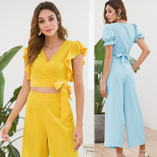купить Women 2019 Summer Fashion Yellow Two Piece Outfits Ruffles V-neck Co-ord Set Shorts Crop Top and Wide Pant Suits Batwing Sleeve дешево