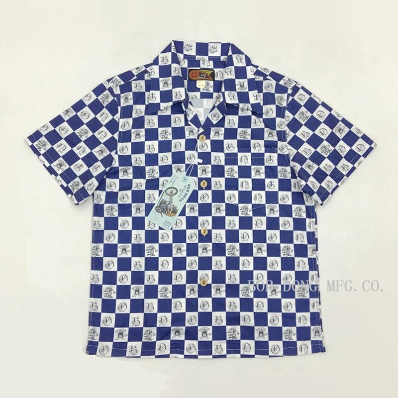 Bob Dong Vintage Mens Plaid Hawaiian Shirt Aloha Carton Print Hawaii Shirts Short Sleeve Tops For Beach Cruise Luau Sunset Party