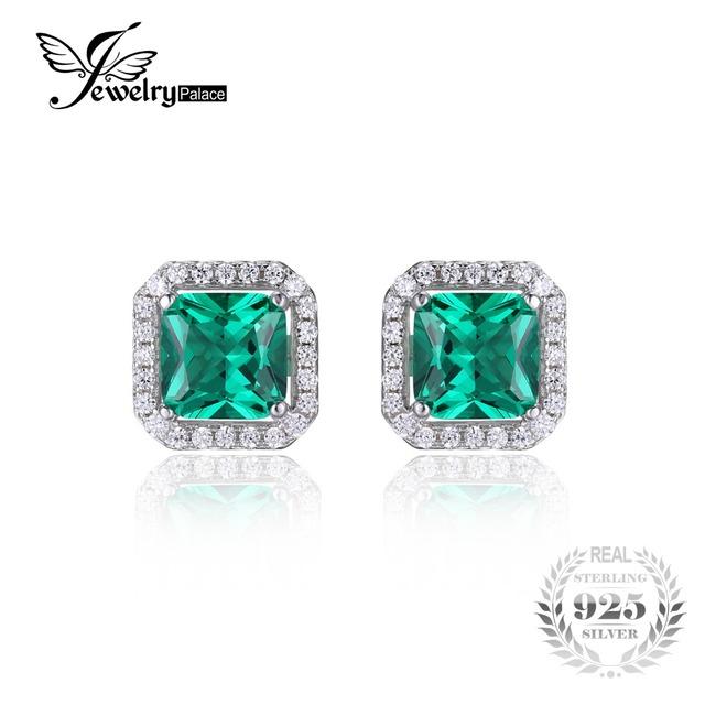 Jewelrypalace cuadrado 1.4ct creado nano ruso esmeralda 925 pendientes de plata esterlina joyería fina para las mujeres nueva marca