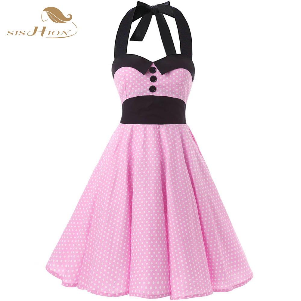 SISHION Retro Vintage Dress 50s Rockabilly Swing Halter ...