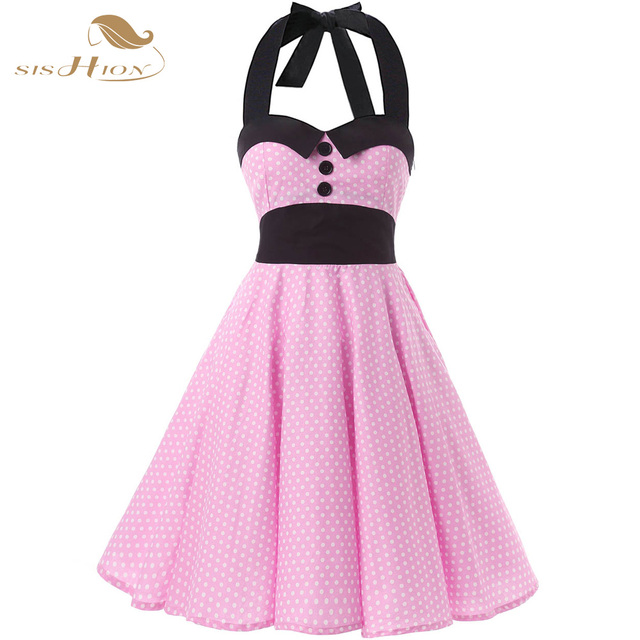 1f220b269b SISHION Retro Vintage Dress 50s Rockabilly Swing Halter Sleeveles Pink  White Polka Dots Elegant Sexy Backless Party Dress VD0146