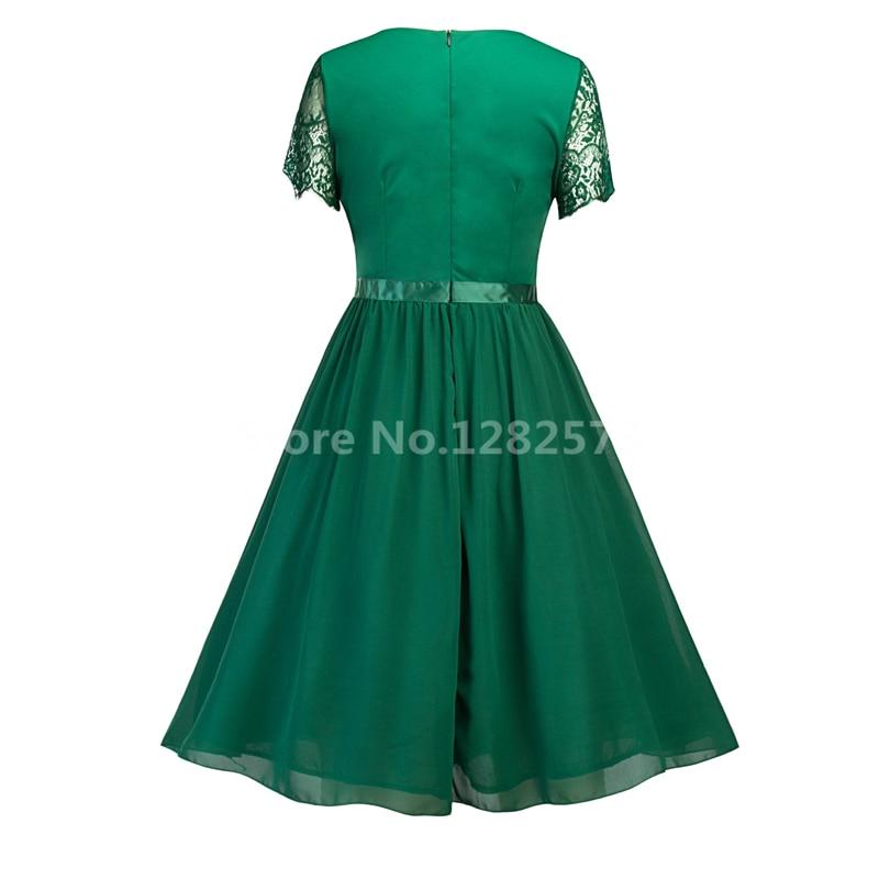 I lager Billiga Enkel Grön Cocktail Klänningar Kort Lace Sleeve - Särskilda tillfällen klänningar - Foto 2