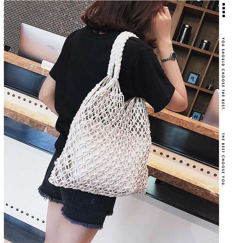Fashion cotton mesh bag Hollow Out Mesh Design Women Handbags Holiday Tote Canvas Lady Beach Bags Net Simple Shopping Bag String