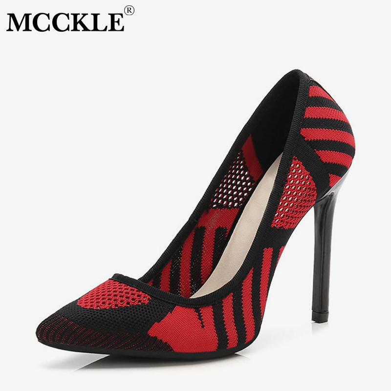 MCCKLE Woman Pumps Kniting Plus Size Sexy High Heels Slip on Female Fashion Stripe Thin Heel Autumn Party Wedding Shoes Footwear mcckle 2017 ladies fashion sexy autumn winter ankle boots female slip on zip black solid platform high heels plus size34 43