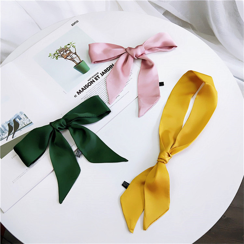 2019 Women New Ribbon Silk Scarf Beautiful Solid Design Girls Neckerchief Hair Band Bag Handle Wraps Small Neck Scarves