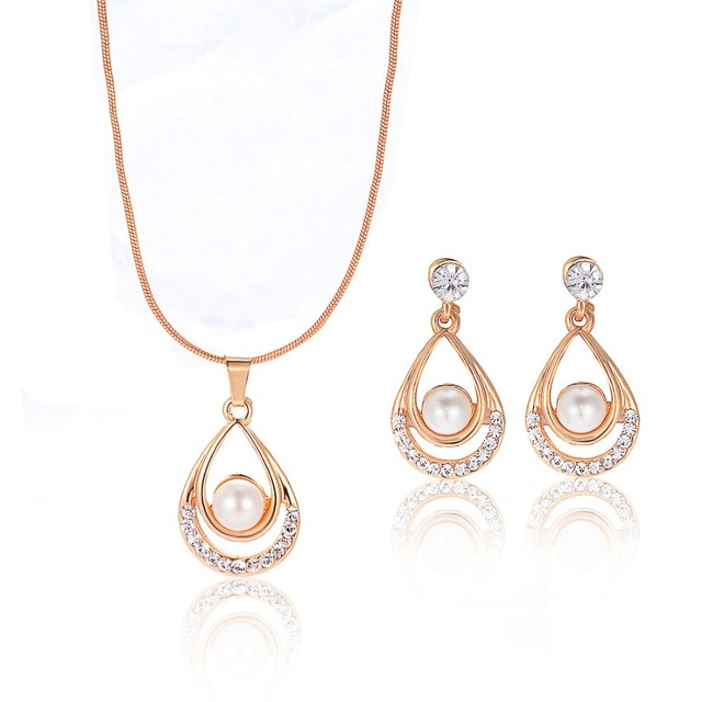 Valentine Day Gifts Gold Color Simulated Pearl Water Drop Crystal Pendant Necklace Earrings Wedding Jewelry Sets For Women 2