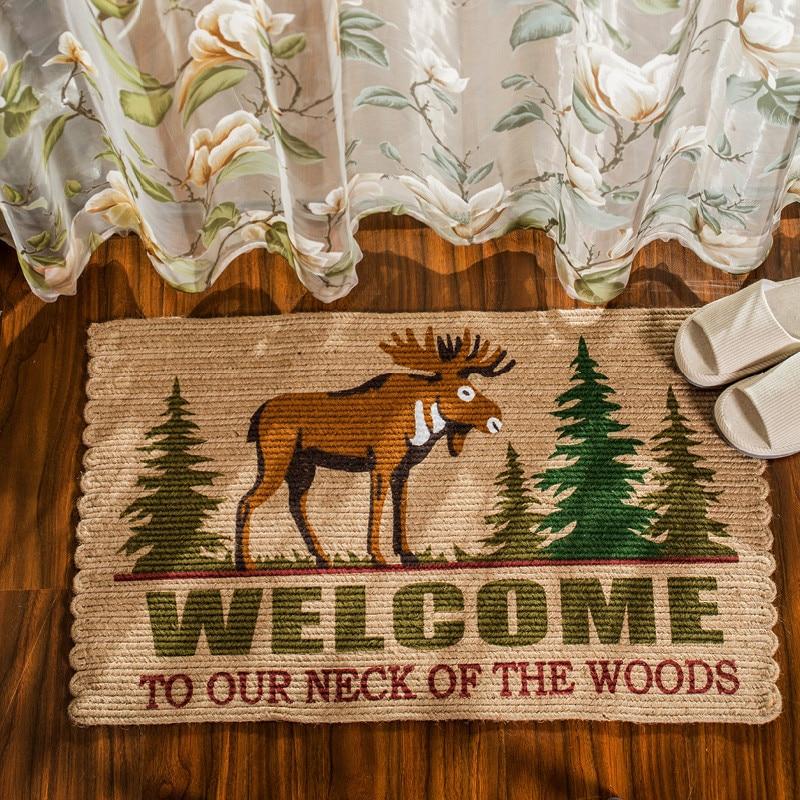 Style nordique tapis de porte en Jute naturel Anti-saut résistant à la saleté cuisine balcon tapis de sol Hallyway bienvenue tapis de sol 50*80 cm - 2