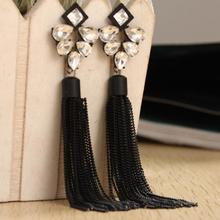 цена на Charmcci New Arrival Big Brand Bling Bling Rhinestones Black Long metal tassels Drop Earrings Fashion Jewelry for Women