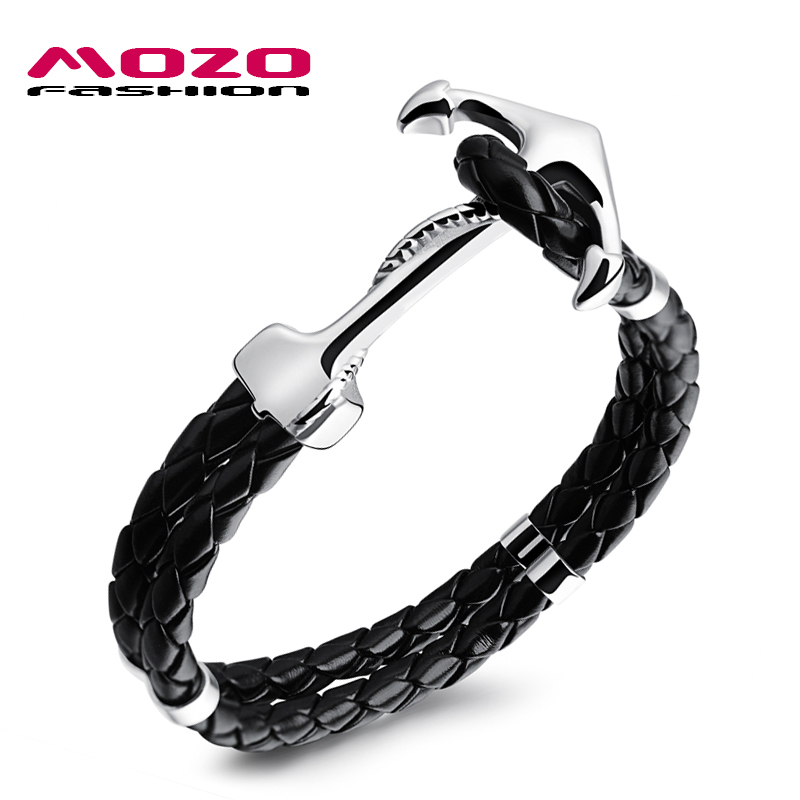 MOZO FASHION Cool Man Stainless Steel Anchor Bracelet Double Layer Braided Leather Rope Wrap Bracelet Men Charm Jewelry MPH1096