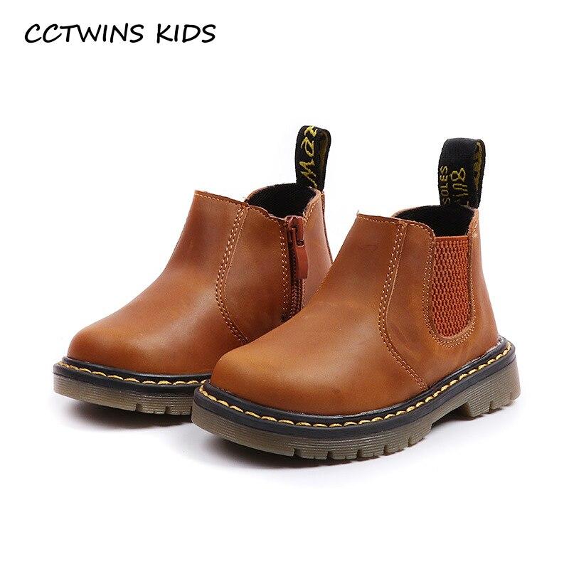 CCTWINS KIDS 2018 Autumn Boy Fashion Marin Boot Children Ankle Baby Girl  Kid Brand Chelsea Genuine Leather Black C1206 79083b64788c