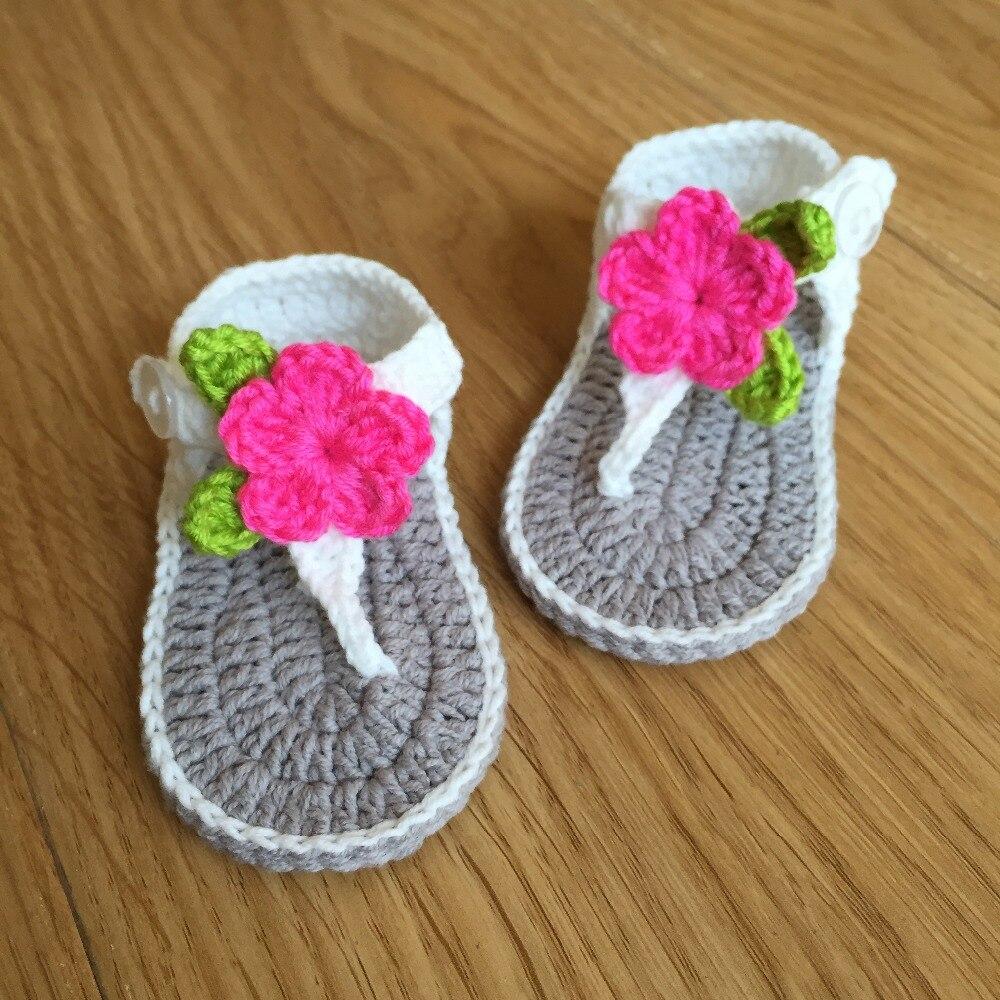 ᗔQyflyxue zapatos hechos a mano del ganchillo del bebé, recién ...