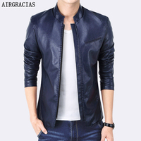 Mountain Conqueror New Design PU Leather Men S Jacket Winter Autumn Slim Fit Solid Color Stand