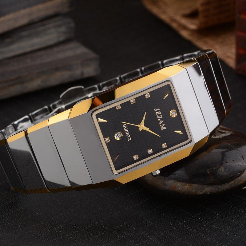 Prostokąt Stylu JZZAM Luksusowej Marki Zegarek Klasyczny Mężczyzna Wolframu stali Zegarek Kwarcowy Rhinestone Mężczyzna Zegar Eleganckie Zegarki Mężczyzn w Zegarki kwarcowe od Zegarki na  Grupa 3
