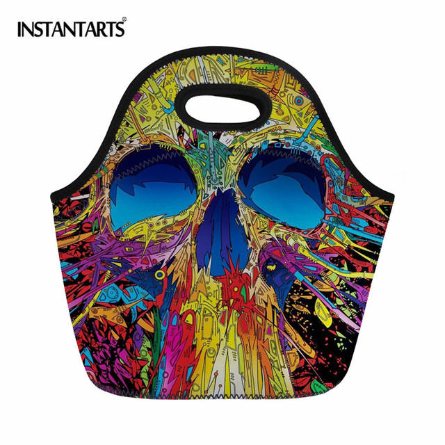 INSTANTARTS Sport Tote Picnic Bags Outdoor Hiking Camping Lunch Food Box Men's Children Skull Printed Cooler Snack Storage Bags