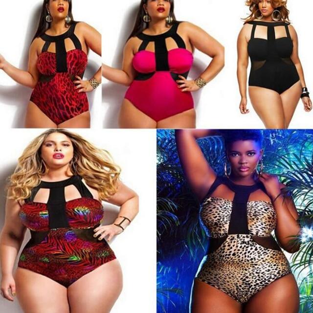 fb612190bb Big Plus Size 3XL Women s Print Leopard cheeky Bustier One Piece Beachwear  Sets Swimsuits Bath Bathing Suits Swimwear bodysuits