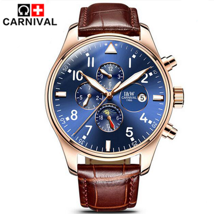 Prix pour Carnaval Top Marque De Luxe Mens Montres Saphir De Mode Mécanique Montre Multifonction 6 Mains Hommes Casual Lumineux montre-Bracelet