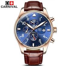 Карнавал Лучший Бренд Класса Люкс Мужские Часы Сапфир Мода Механические Часы Многофункциональный 6 Руки Мужчины Случайный Световой Наручные часы