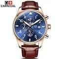 Carnival top marca de luxo mens relógios de safira moda luminosa multifuncional relógio mecânico 6 mãos homens casuais relógio de pulso