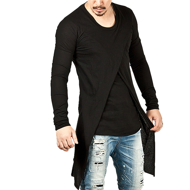 New 2018 Non-mainstream Irregular Dovetail Split Tide Male Cultivate One's Morality Round Neck Long Sleeve T-shirt