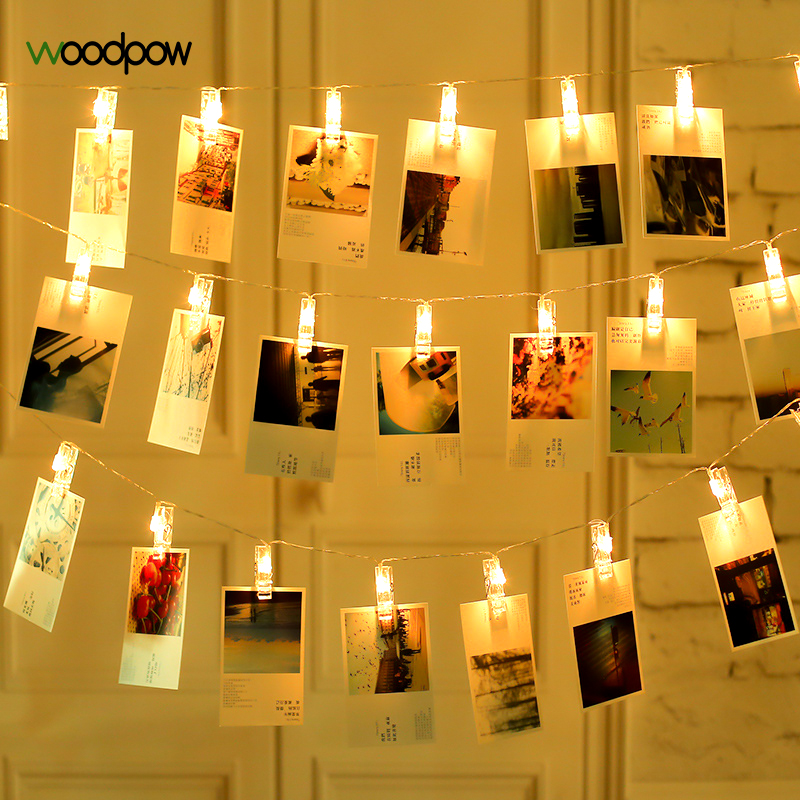 Woodpow 10-40LED Picture Photo Clip String Light AA Battery Powered Fariy Lights for Wee ...