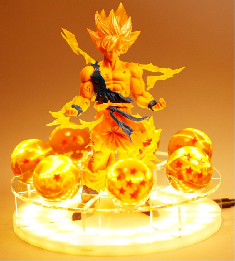 Dragon Ball Son Goku 3D Crystal Night Light LED Table Lamp Kids Xmas Decor Gift