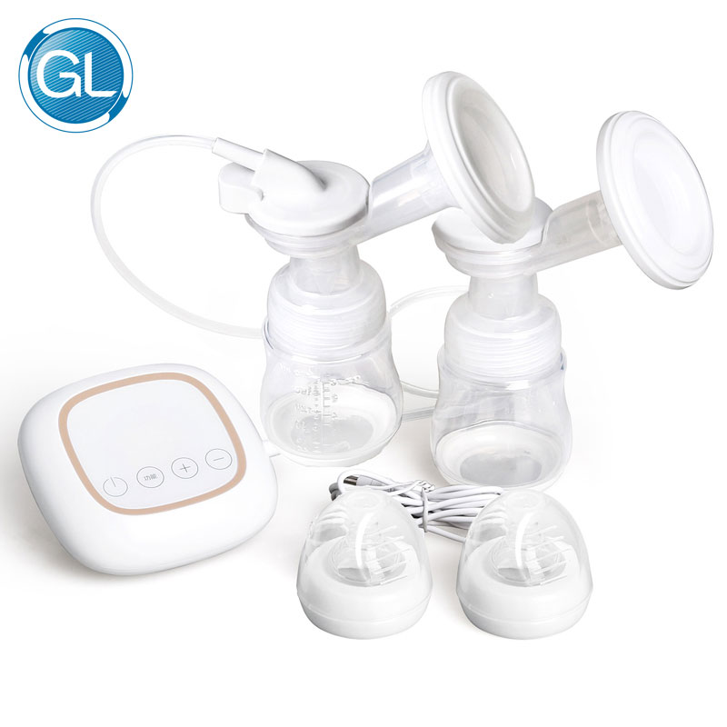 GL USB Charger Dual Electric Breast Pump BPA Free Enlargement Suction Breast Pump Silicone Powerful Baby Feeding Pump