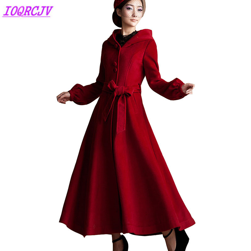 Woolen Coat for Womens 2018 Autumn Winter Plus size Hooded Lengthen Wool Jacket High quality Slim