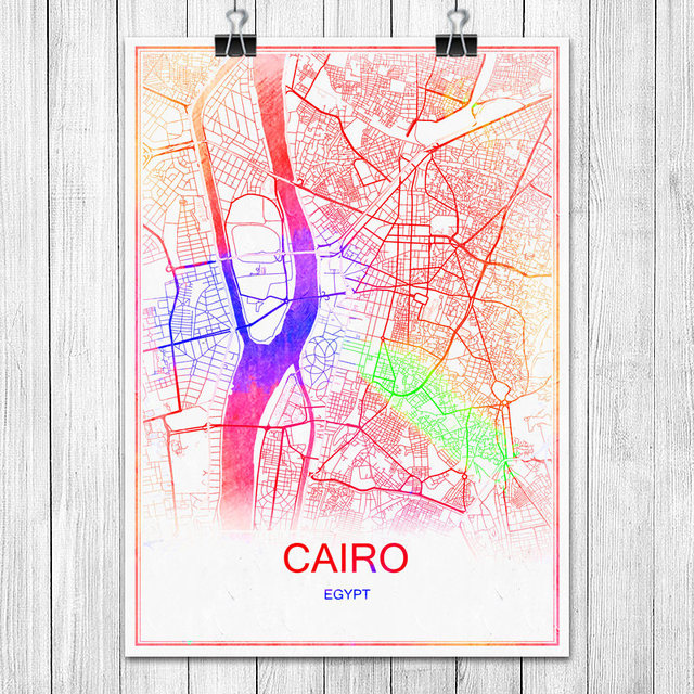 Modern Colorful World City Map Cairo Egypt Print Poster Abstract