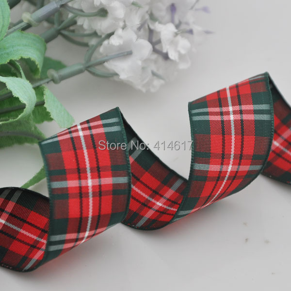 Upick 1 25mm Red Green font b Tartan b font Plaid Ribbon Bows Appliques Sewing Crafts