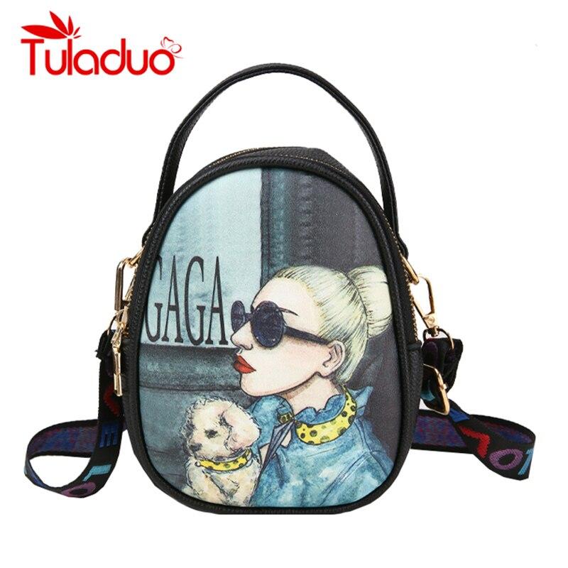 Cartoon Printing Women Bag Colorful Strap Crosssbody Bags for Lady Mini Cute Cellphone Shoulder Messenger Bag PU Leather Handbag